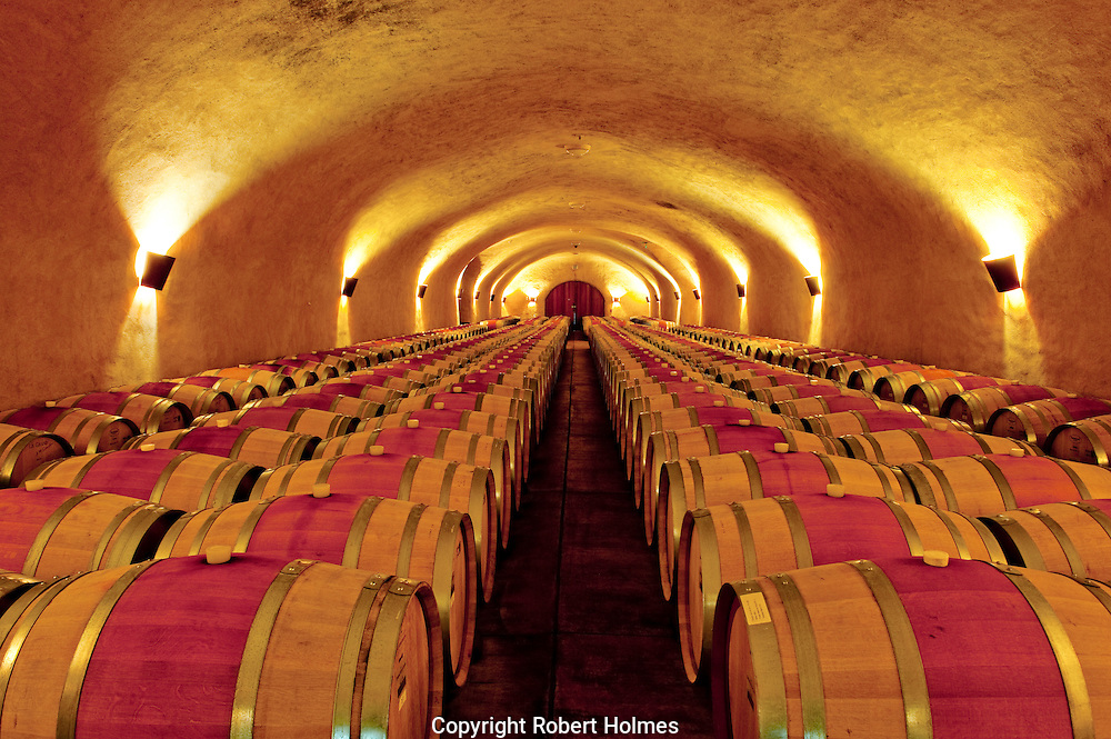 The barrel room at Spring Mountain Winery