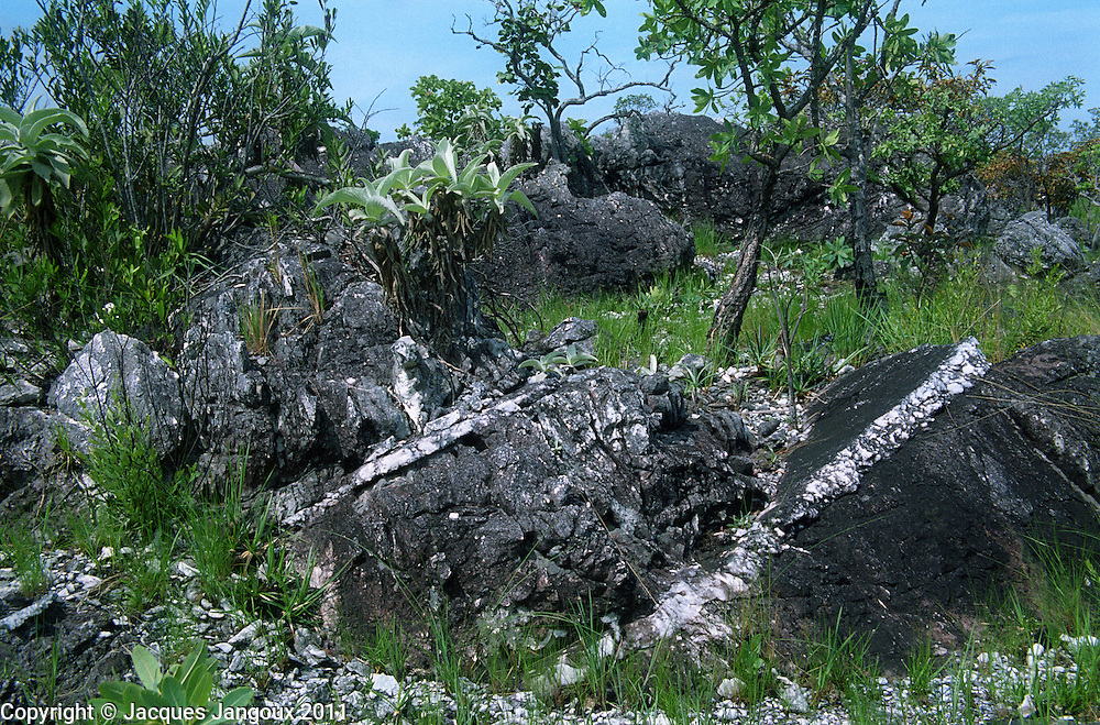Pre-cambrian geological formation in the Brazilian Shield: metamorphic stratified sedimentary rocks: quartzite, Nothern Goiás, Brazil. White layers will be identified later.