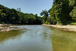 The Vermillion river flows past the west side of Matthiessen State Park near Utica Illinois.