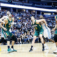 20 November 2016: Utah Jazz center Rudy Gobert (27) vies for the rebound with Denver Nuggets center Jusuf Nurkic (23), and Utah Jazz forward Joe Ingles (2) vies for the rebound with Denver Nuggets forward Kenneth Faried (35) next to Utah Jazz forward Trey Lyles (41) during the Denver Nuggets 105-91 victory over the Utah Jazz, at the Pepsi Center, Denver, Colorado, USA.