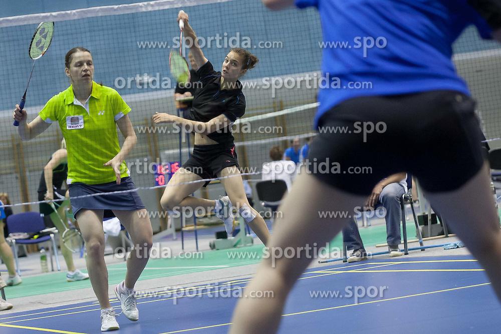 Maja Tvrdy with Kaja Stankovic in women doubles match during Slovenia Open Badminton tournament 2012, on May 11, 2012, in Medvode, Slovenia. (Photo by Grega Valancic / Sportida.com)
