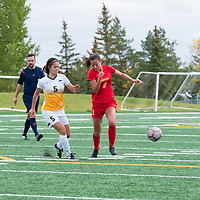 4th year defender Angela Lalonde (5) of the Regina Cougars in action during the Women's Soccer Home Game on September 23 at U of R Field. Credit Matt Johnson/©Arthur Images 2017
