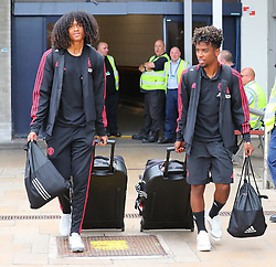 Tahith Chong (left) and Angel Gomes is spotted at the Manchester Airport, UK as the Manchester United Football Club return from their USA Pre-Season tour on July 1, 2018.