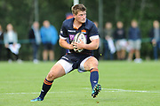 James Johnstone on the ball during the Rugby Friendly match between Edinburgh Rugby and Bath Rugby at Meggetland Sports Compex, Edinburgh, Scotland on 17 August 2018.