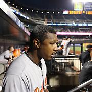 Adam Jones, Baltimore Orioles, in the dugout during the New York Mets Vs Baltimore Orioles MLB regular season baseball game at Citi Field, Queens, New York. USA. 5th May 2015. Photo Tim Clayton