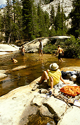 CA: Yosemite National Park, Swimming in rock basin of the Tuolomne River           .Photo Copyright: Lee Foster, lee@fostertravel.com, www.fostertravel.com, (510) 549-2202.cayose223
