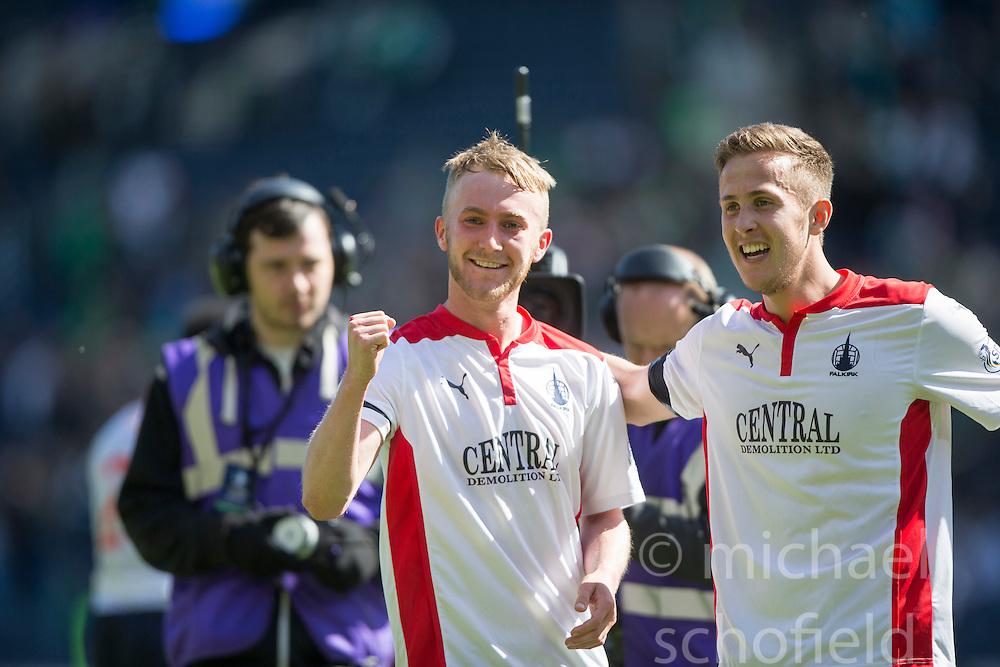 Falkirk's scorer Craig Sibbald (10) cele. Falkirk's players cele the win, with Falkirk's Will Vaulks.<br /> Hibernian 0 v 1 Falkirk, William Hill Scottish Cup semi-final, played 18/4/2015 at Hamden Park, Glasgow.