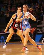 Sophia Fenwick of the Steel gathers the ball with Jess Moulds of the Tactix in defence during the ANZ Championship Netball game between the Tactix v Steel at Horncastle Arena in Christchurch. 6th April 2015 Photo: Joseph Johnson/www.photosport.co.nz