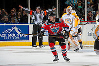 KELOWNA, CANADA - DECEMBER 3: Tomas Soustal #15 of the Kelowna Rockets skates against the Brandon Wheat Kings on December 3, 2016 at Prospera Place in Kelowna, British Columbia, Canada.  (Photo by Marissa Baecker/Shoot the Breeze)  *** Local Caption ***