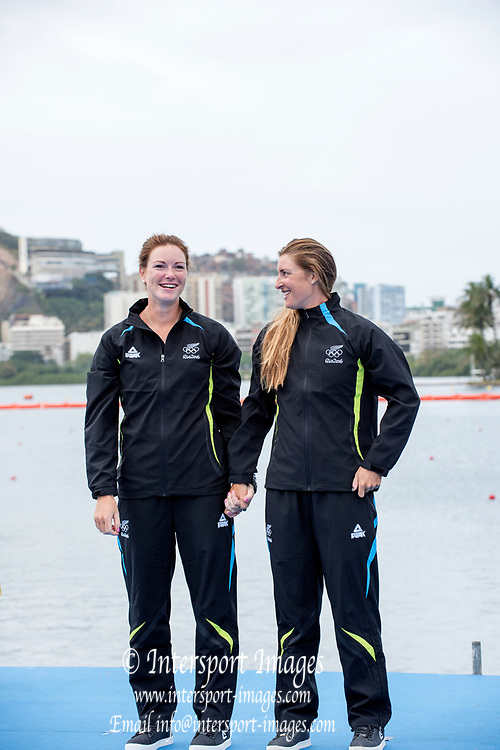 Rio de Janeiro. BRAZIL Left, Silver Medalist. NZL W2- Genevieve BEHRENT and Rebecca SCOWN,    2016 Olympic Rowing Regatta. Lagoa Stadium,<br /> Copacabana,  &ldquo;Olympic Summer Games&rdquo;<br /> Rodrigo de Freitas Lagoon, Lagoa. Local Time 16:40:43  Friday  12/08/2016<br /> [Mandatory Credit; Peter SPURRIER/Intersport Images]