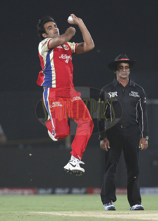 Zaheer Khan of the Royal Challengers Bangalore sends down a delivery during match 30 of the the Indian Premier League (IPL) 2012  between The Rajasthan Royals and the Royal Challengers Bangalore held at the Sawai Mansingh Stadium in Jaipur on the 23rd April 2012..Photo by Shaun Roy/IPL/SPORTZPICS