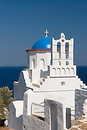 The blue domed church of  Panaghia Poulati, Sifnos, The Cyclades, Greek Islands, Greece, <br /> Europe