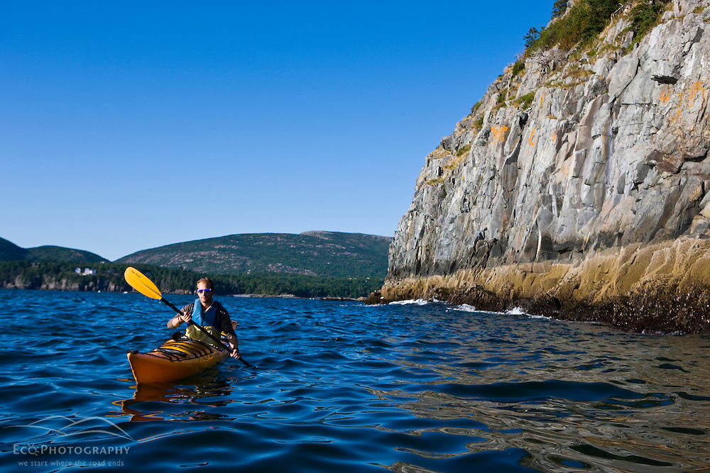 A man sea kayaking near Bald Porcupine Island in Maine's Acadia National Park.  Bar Harbor.