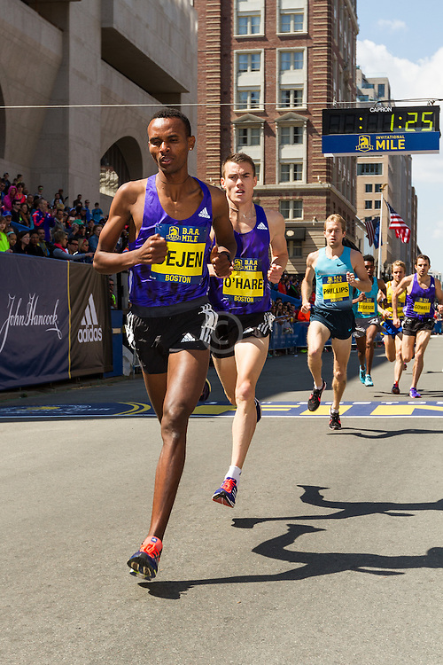 Boston Marathon: BAA 5K road race, Invitational Mens Mile, Dejen Gebremeskel