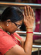 21 OCTOBER 2015 - YANGON, MYANMAR: A woman prays at the Sri Kali Temple, a Hindu temple in central Yangon.   PHOTO BY JACK KURTZ