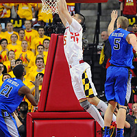 16 February 2013:   Maryland Terrapins center Alex Len (25) in action against Duke Blue Devils forward Mason Plumlee (5) at the Comcast Center in College Park, MD. where the Maryland Terrapins defeated the Duke Blue Devils, 83-81.