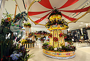 A grand carousel garden is the centerpiece for the 43rd Annual Macy's Flower Show, Carnival, at Macy's Herald Square in New York, Sunday, March 26, 2017.  The show runs through Sunday, April 9 and is free to the public.  (Photo by Diane Bondareff/AP Images for Macy's Inc.)