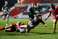 Bristol Rugby Lock Joe Joyce spills the ball inches short of the tryline - Mandatory byline: Rogan Thomson/JMP - 22/01/2016 - RUGBY UNION - Ashton Gate Stadium - Bristol, England - Bristol Rugby v Ulster A - British & Irish Cup.