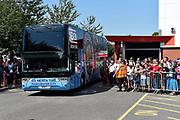 The Manchester City team bus arrives at the Vitality Stadium ahead of the Premier League match between Bournemouth and Manchester City at the Vitality Stadium, Bournemouth, England on 25 August 2019.