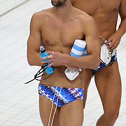 USA swimmer Michael Phelps training with the USA team at the Aquatic Centre at Olympic Park, Stratford during the London 2012 Olympic games preparation at the London Olympics. London, UK. 23rd July 2012. Photo Tim Clayton