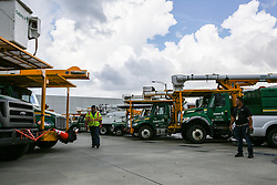 Electrical utilities crews prepare for the incoming Hurricane Irma at Orlando Utilities Commission on Sep. 8, 2017. (Photo by Aileen Perilla/Orlando Sentinel/TNS/Sipa USA)