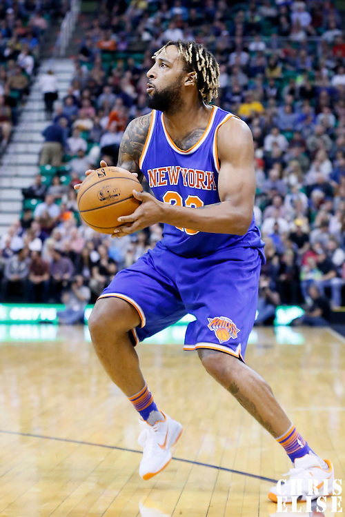 09 December 2015: New York Knicks forward Derrick Williams (23) dribbles during the Utah Jazz 106-85 victory over the New York Knicks, at the Vivint Smart Home Arena, Salt Lake City, Utah, USA.