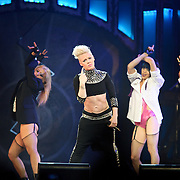 "WASHINGTON, DC - March 14th, 2013 -  Pink performs at the Verizon Center in Washington, D.C. as part of her ""Truth About Love"" tour. Her album of the same name debuted at No. 1 on the Billboard  200 chart last September and included the hits ""Blow Me (One Last Kiss)"" and ""Try."" (Photo by Kyle Gustafson/For The Washington Post)"