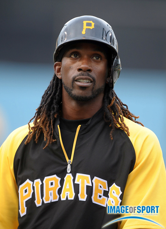 Apr 11, 2012; Los Angeles, CA, USA; Pittsburgh Pirates center fielder Andrew McCutchen (22) before the game against the Los Angeles Dodgers at Dodger Stadium.