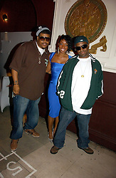 Left to right, DAVID JUDE JOLICOEUR of De La Soul, SABRINA WASHINGTON from Miss Teeq and VINCENT MASON of De La Soul at a party hosted by Dom Perignon at Sketch, Conduit Street, London on 18th October 2006.<br />
