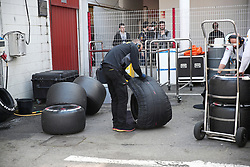 March 1, 2019 - Barcelona, Spain - tires in the box of the McLaren during the Formula 1 test in Barcelona, on 01 March 2019, in Barcelona, Spain. (Credit Image: © Joan Valls/NurPhoto via ZUMA Press)