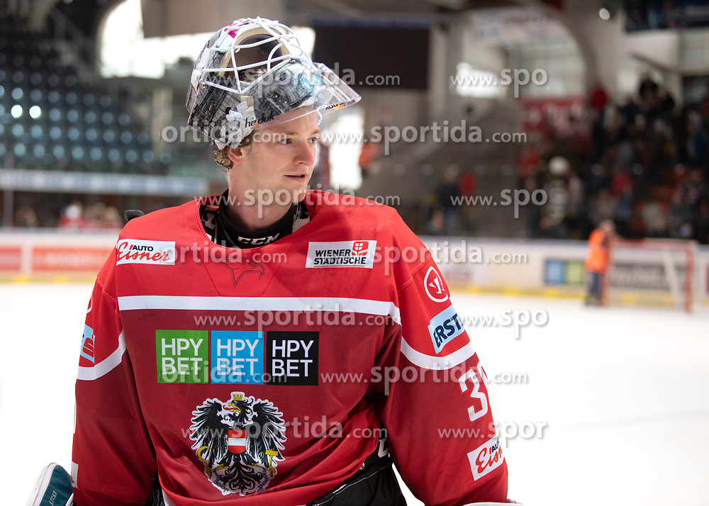 13.04.2019, Keine Sorgen Eisarena, Linz, AUT, Euro Hockey Challenge, Österreich vs Tschechien, Länderspiel, im Bild Tormann David Kickert (AUT) // during the international friendly match between Austria and Czech Republic, as part of the Euro Hockey Challenge at the Keine Sorgen Eisarena in Linz, Austria on 2019/04/13. EXPA Pictures © 2019, PhotoCredit: EXPA/ Reinhard Eisenbauer