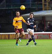 23rd December 2017, Fir Park, Motherwell, Dundee; Scottish Premier League football, Motherwell versus Dundee; Dundee's Jon Aurtenetxe and Motherwell's Ryan Bowman