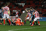 Joe Murphy misses the ball but CTFC can not score   during the EFL Sky Bet League 2 match between Cheltenham Town and Bury at LCI Rail Stadium, Cheltenham, England on 5 March 2019.