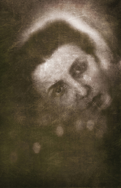 atmospheric and ghostly photo of beautiful young caucasian woman hidden behind texture in retro style