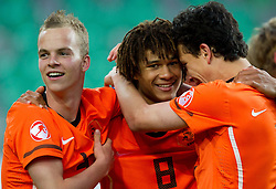 Jorrit Hendrix of Netherlands, Nathan Ake of Netherlands and Thom Haye of Netherlands celebrate after winning the UEFA European Under-17 Championship Final match between Germany and Netherlands on May 16, 2012 in SRC Stozice, Ljubljana, Slovenia. Netherlands defeated Germany after penalty shots and became European Under-17 Champion 2012. (Photo by Vid Ponikvar / Sportida.com)