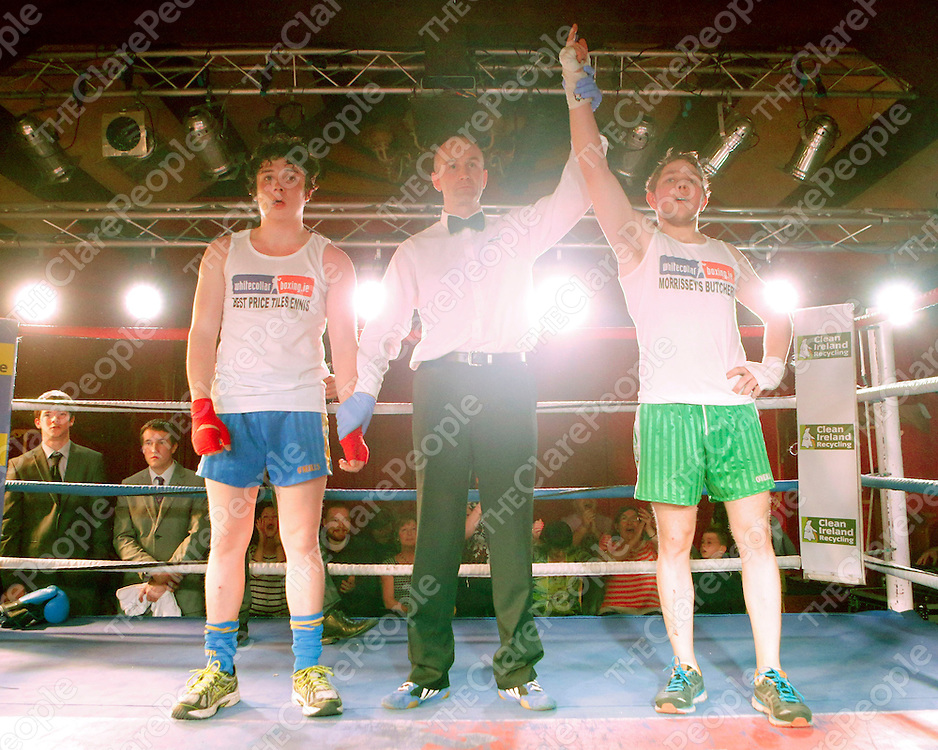 16/03/2014<br /> Kevin &quot;Butcher Boy&quot; McCafferty of Wolfe Tones GAA, Shannon is victorious over Paudie &quot;Concussion&quot; Conway of Newmarket on Fergus GAA at the White Collar Boxing tournament at the Oakwood Arms Hotel, Shannon. <br /> Picture: Don Moloney / Press 22
