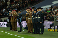 Football - 2018 / 2019 Premier League - Tottenham Hotspur vs. Manchester City<br /> <br /> Members of the Armed Services observe a minutes silence before kick off at Wembley Stadium.<br /> <br /> COLORSPORT/DANIEL BEARHAM