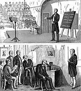 Alexander Graham Bell (1847-1922) Scottish-born American inventor, lecturing on his telephone at Salem (top) while friends in his study at Boston listen to his lecture - 12 February 1877. Wood engraving published New York 1890.