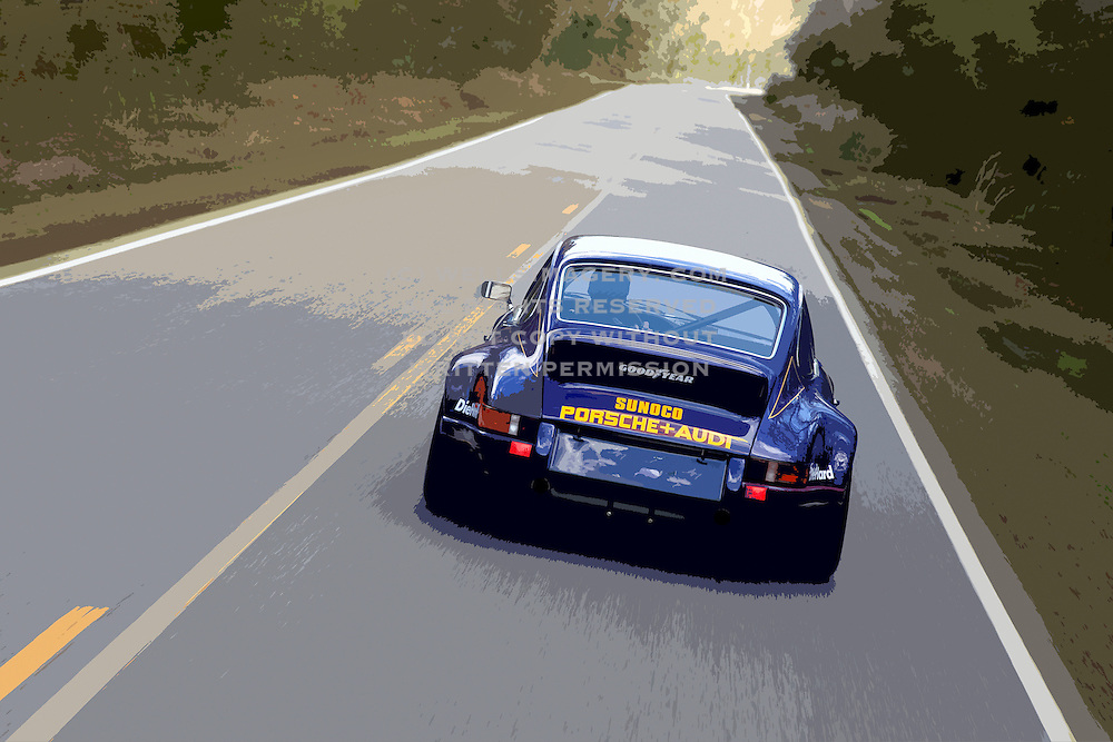 Image of a blue 1973 Sunoco RSR tribute car in Virginia, Porsche 911 RSR, model and property released