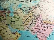 Far East Asia map on a globe focused on Afghanistan and Pakistan