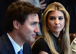 Ivanka Trump, daughter of U.S. President Trump, participates in a roundtable discussion with female executives and Prime Minister Justin Trudeau at the White House, in Washington, DC, USA, on Monday, February 13, 2017. Photo by Sean Kilpatrick/CP/ABACAPRESS.COM  | 582090_028 Washington Etats-Unis United States