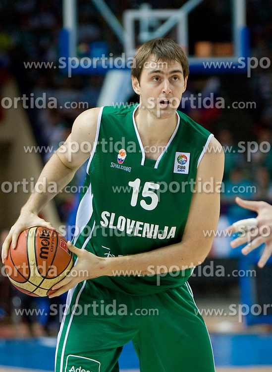 Erazem Lorbek (15) of Slovenia  during the basketball match at Preliminary Round of Eurobasket 2009 in Group C between Slovenia and Spain, on September 09, 2009 in Arena Torwar, Warsaw, Poland. Spain won 90:84 after overtime.  (Photo by Vid Ponikvar / Sportida)