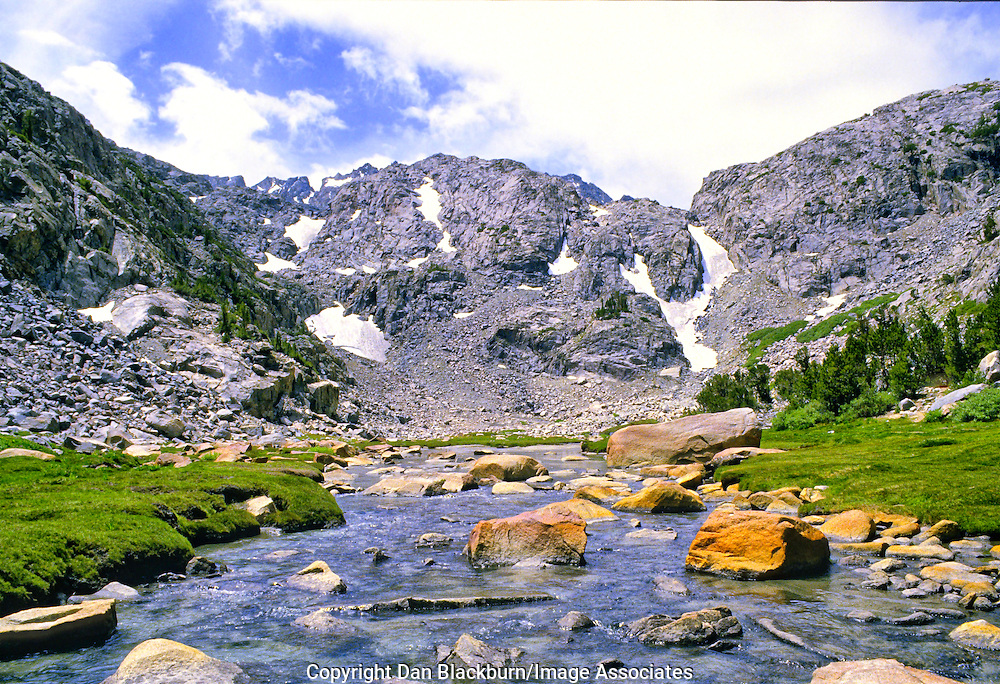 Summer Sunshine Warms Sam Mack Meadow and Upper Pine Creek in the High Sierra Mountain Range of California.