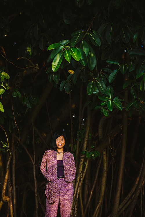 A portrait of Thao Vu, the owner and designer of Kilomet 109, a boutique fashion brand in Hanoi, Vietnam.