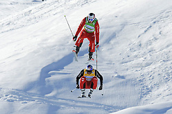 07.03.2014, Carmenna Extrempark, Arosa, SUI, FIS Weltcup Ski Cross, Arosa, im Bild Alex Fiva (SUI, G), Daniel Bohnacker (GER, Y) am Zielsprung // during the FIS Ski Cross World Cup Carmenna Extrempark in Arosa, Switzerland on 2014/03/07. EXPA Pictures © 2014, PhotoCredit: EXPA/ Freshfocus/ Claudia Minder<br /> <br /> *****ATTENTION - for AUT, SLO, CRO, SRB, BIH, MAZ only*****