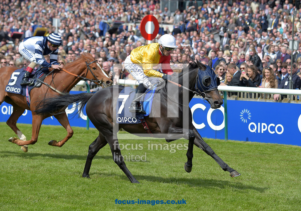 Oasis Fantasy ridden by Silvestra De Sousa (red and yellow half top, white cap) wins Qipco Supporting British racing Stakes during the QIPCO Guineas Festival  on the  Newmarket Rowley Mile Course, Newmarket, UK.<br /> Picture by Martin Lynch/Focus Images Ltd 07501333150<br /> 01/05/2016