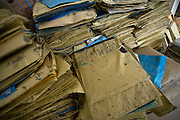 Photos show medical records recovered after the March 11 tsunamis swept through the Yamada  town Prefectural Hospital in Yamada town, Iwate Prefecture, Japan on  10 June 20011.  .Photographer: Robert Gilhooly