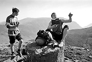 Reading the Carneddau guidebook for Atlantic Slabs in the Ogwen Valley, North Wales