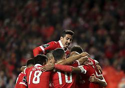 November 26, 2017 - Lisbon, Portugal - Benfica players celebrating their goal during the Portuguese League  football match between SL Benfica and Vitoria Setubal at Luz  Stadium in Lisbon on November 26, 2017. (Credit Image: © Carlos Costa/NurPhoto via ZUMA Press)