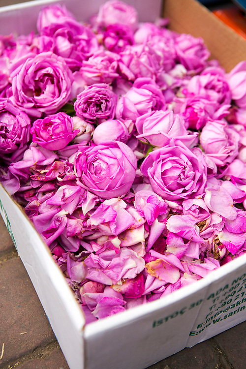 Dried rose flowers from Kelaat M'Gouna for sale in the Marrakech Medina, Southern Morocco
